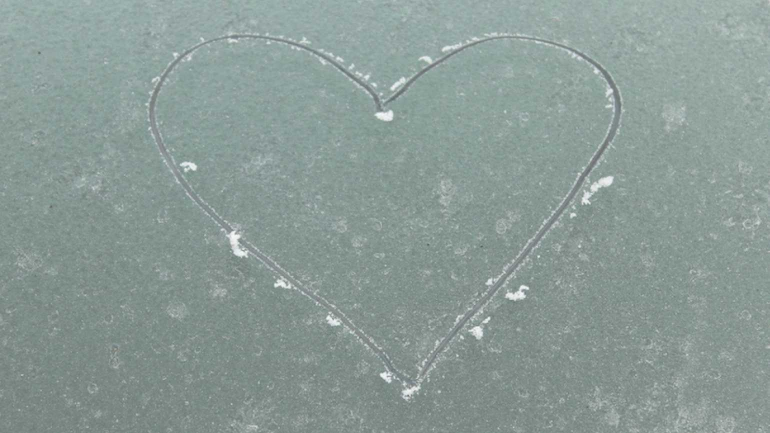 A heart carved in the ice...