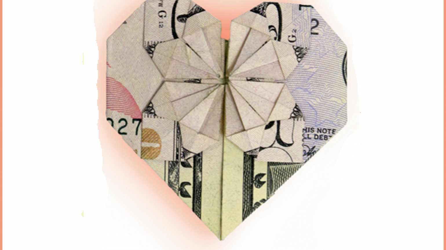 An artist's rendering of a fifty-dollar bill folded into a heart