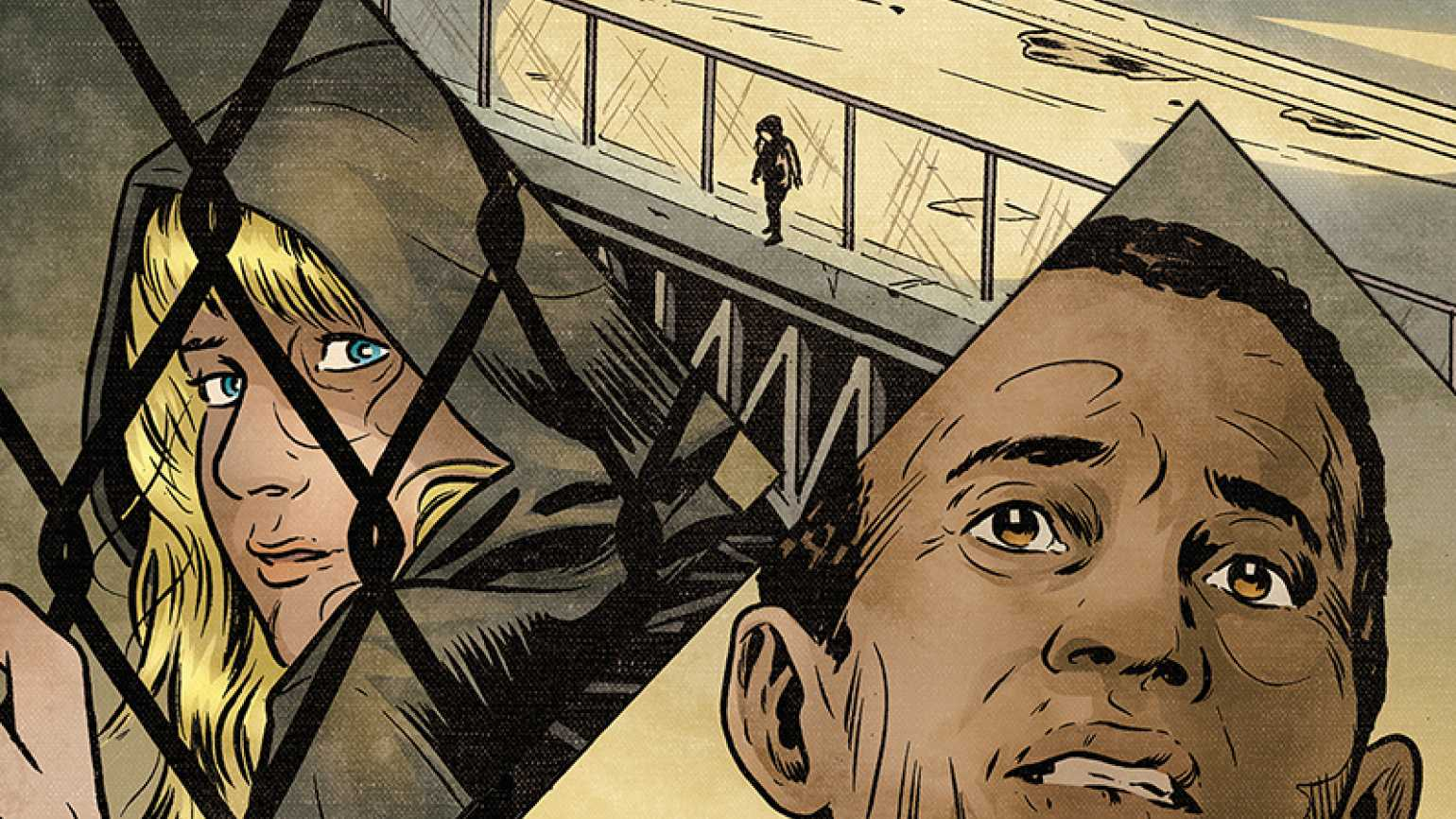 A comic-book-style illustration of Craig Pennington & the young woman he helped