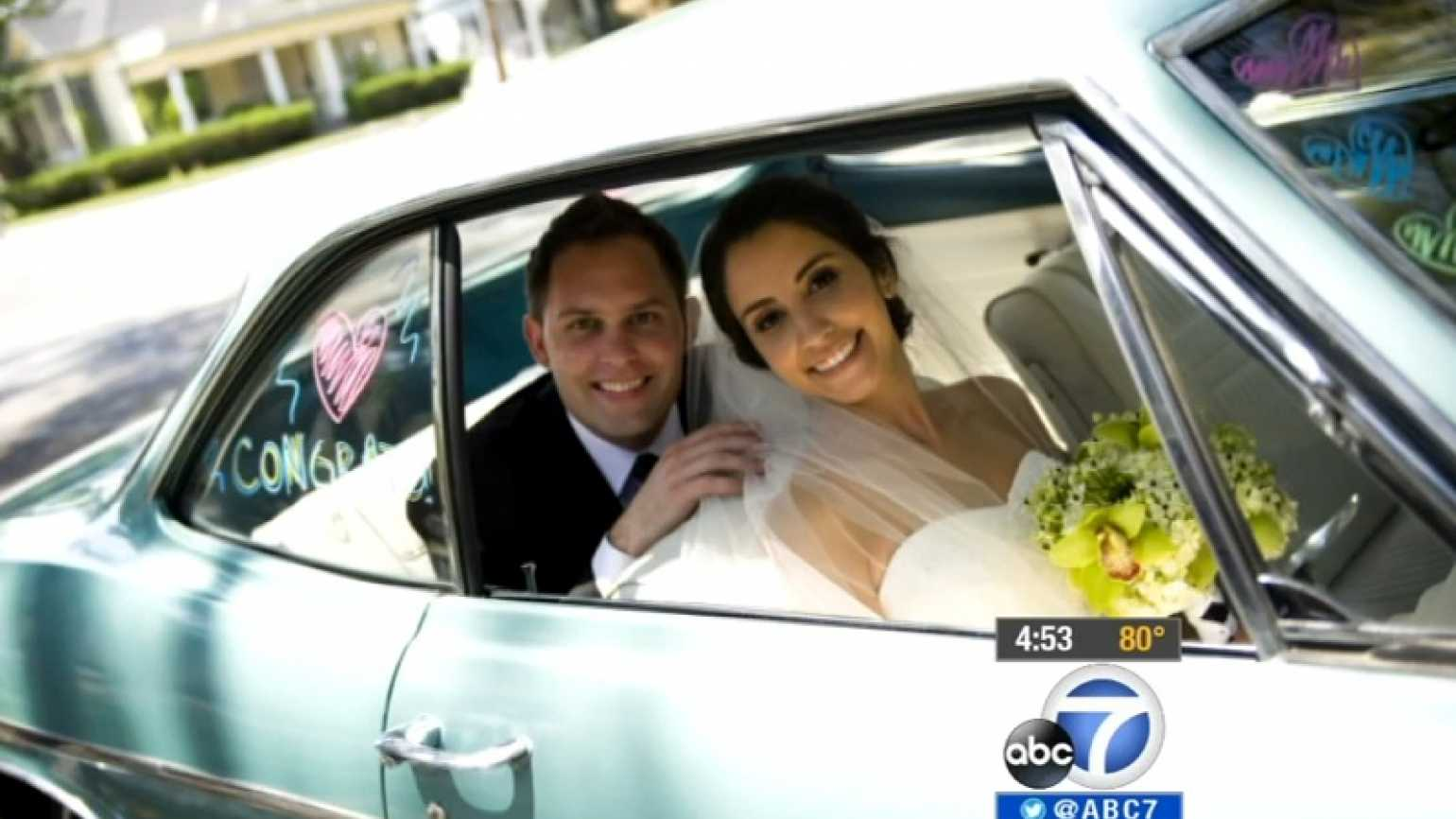 A photo of Dave Lacey and his wife on their wedding day. Credit: KABC-TV