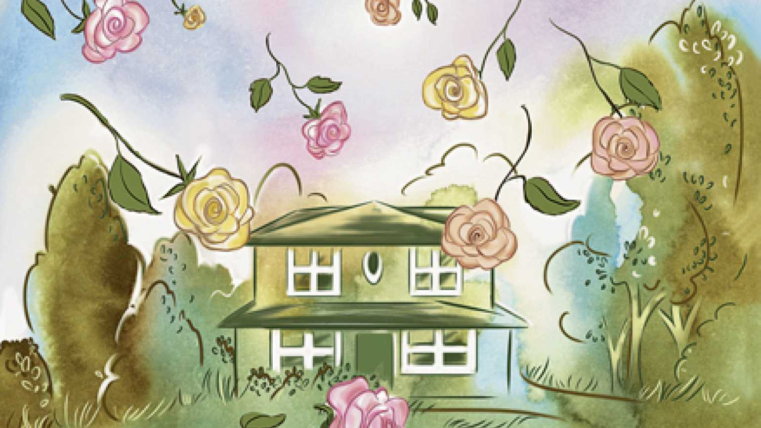 An artist's rendering of a house being showered by roses