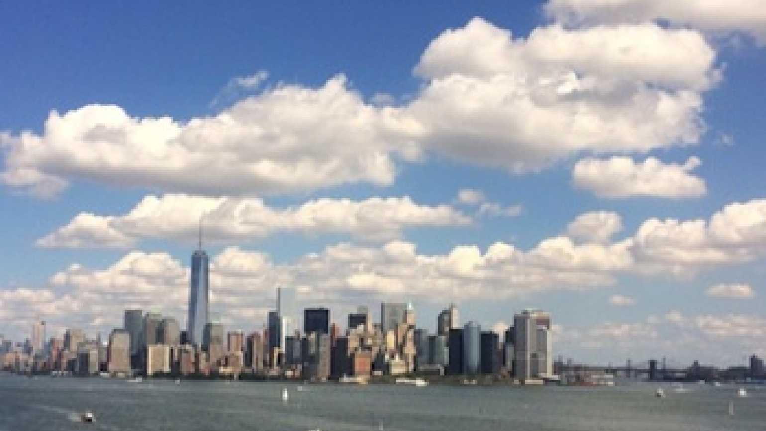 The New York City skyline featuring the Freedom Tower