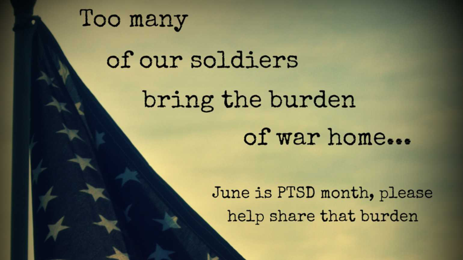 PTSD Awareness Month image with American flags