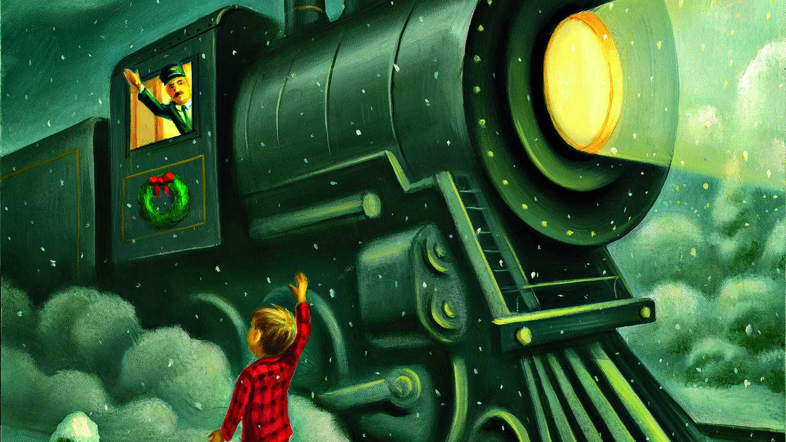 Illustration of a boy waiving to a train conductor