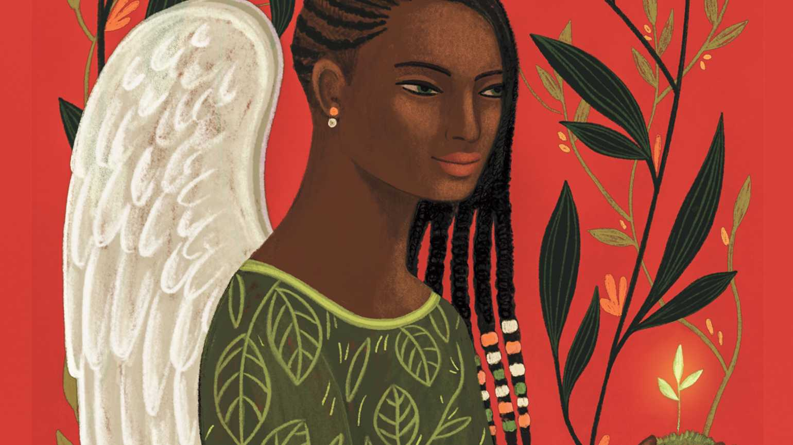 An angel holding a small sprout; Illustration by Carmen Garcia