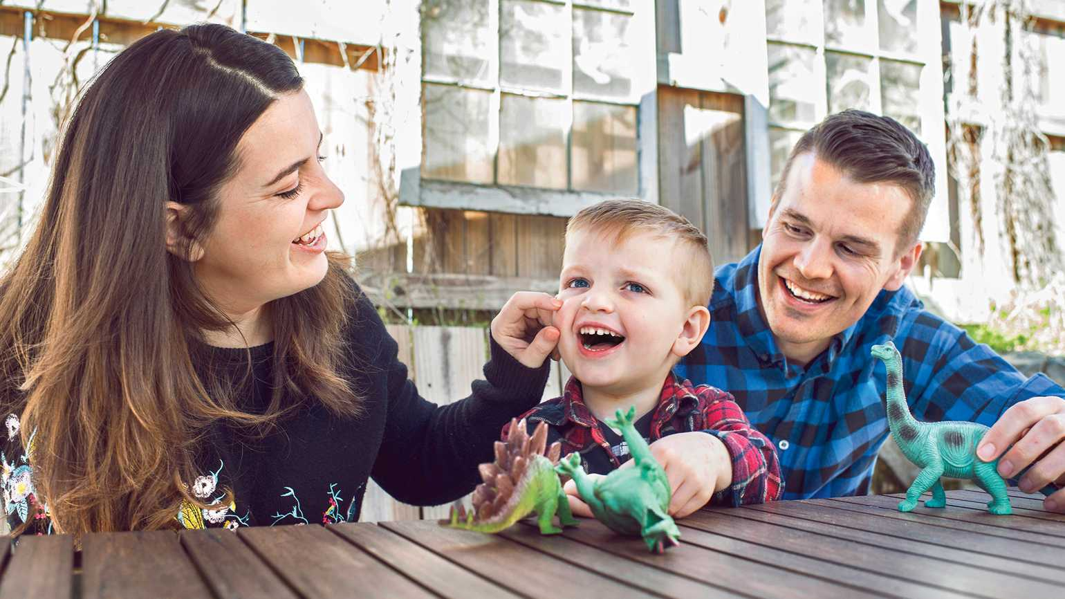Kate at home with her husband, Toban, and their son Zach.
