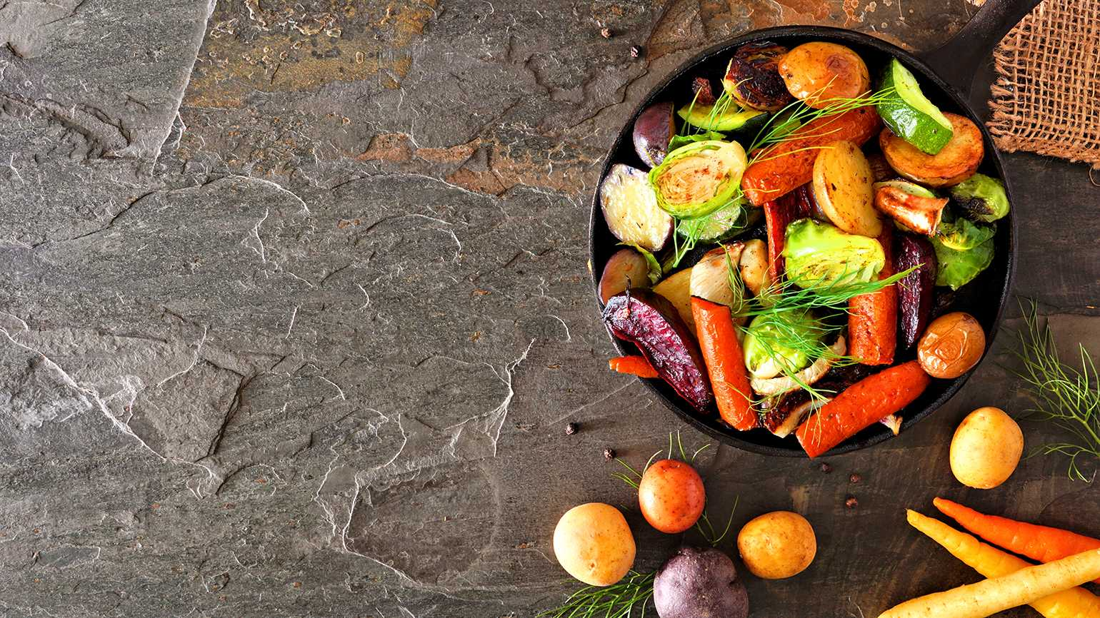 Variety of vegetables in a pan