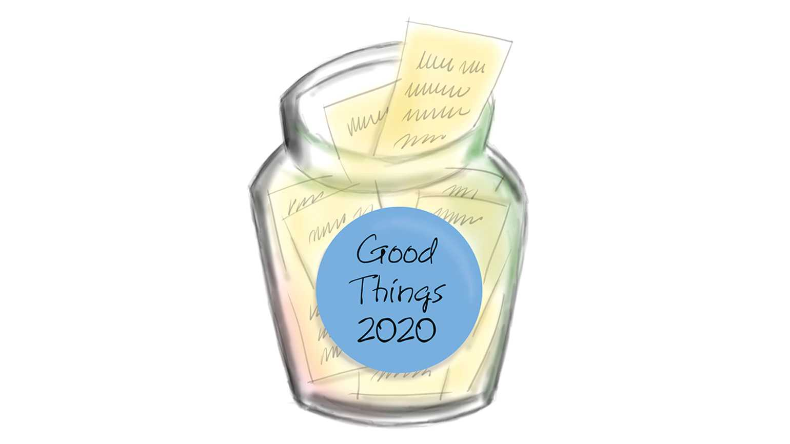 An illustration of the Good Things 2020 jar with notes inside; Illustration by Coco Masuda