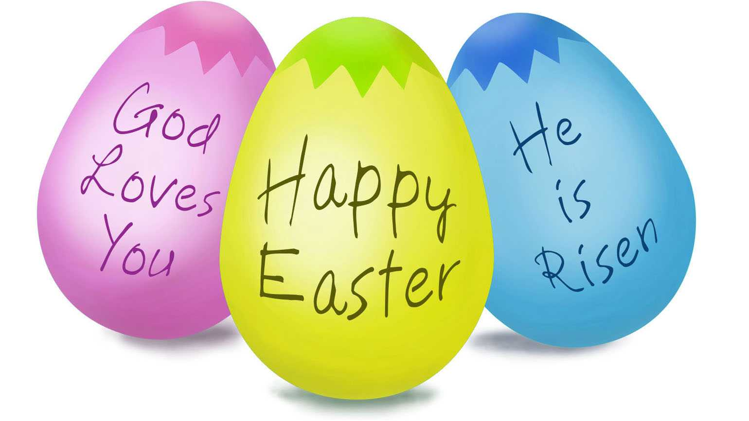 Three colorful Easter eggs with inspirational messages written on them.