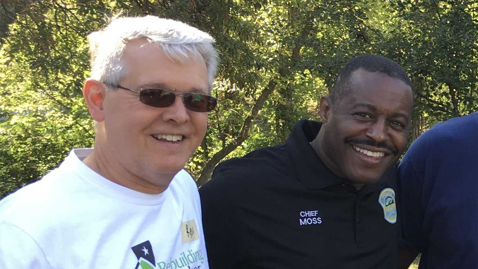 Police chaplain John Revell of Building Community and Chief Moss