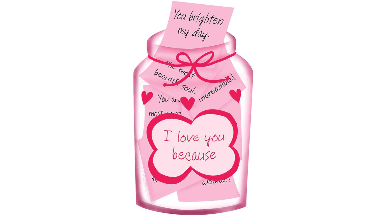 A jar full of pink notes of encouragement.