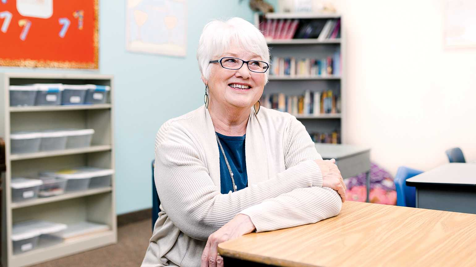 Marilyn DeLisle Strube in her classroom