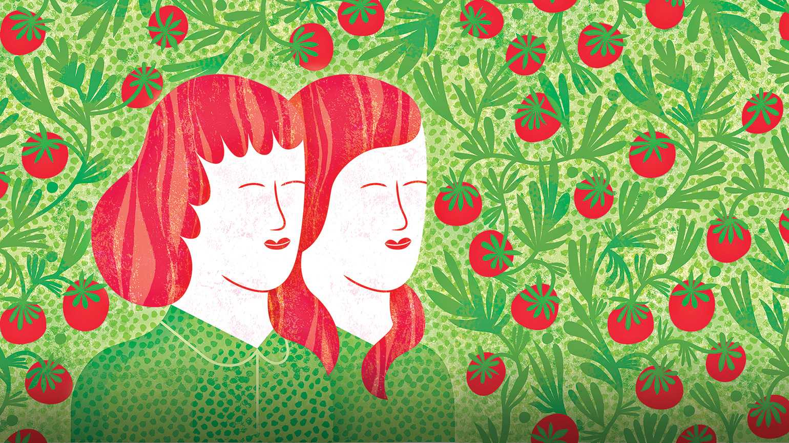 Artist James O'Briens' rendering of a mother and daughter in a tomato patch