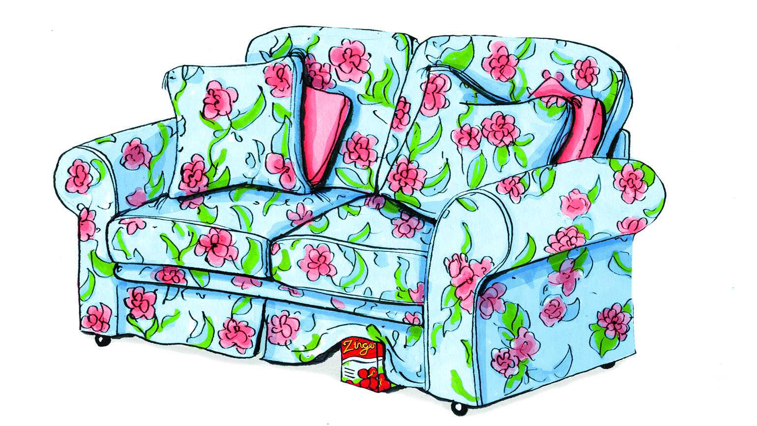 Illustration of a gift hidden under a couch