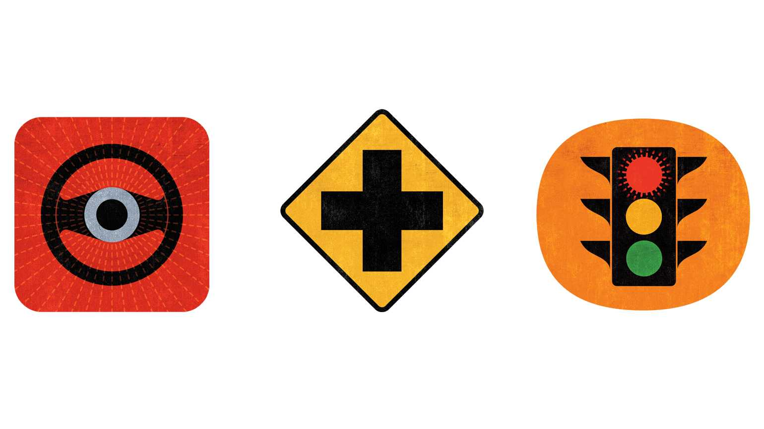 A trio of road signs; Illustration By Jeff Koegel