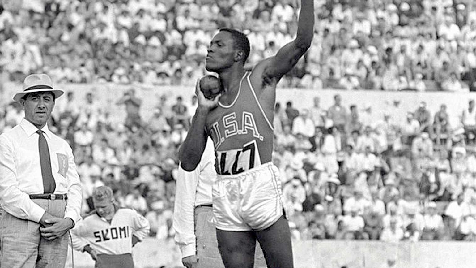 Rafter Johnson competing at that 1950 Olumpics; Public domain, via Wikimedia Commons