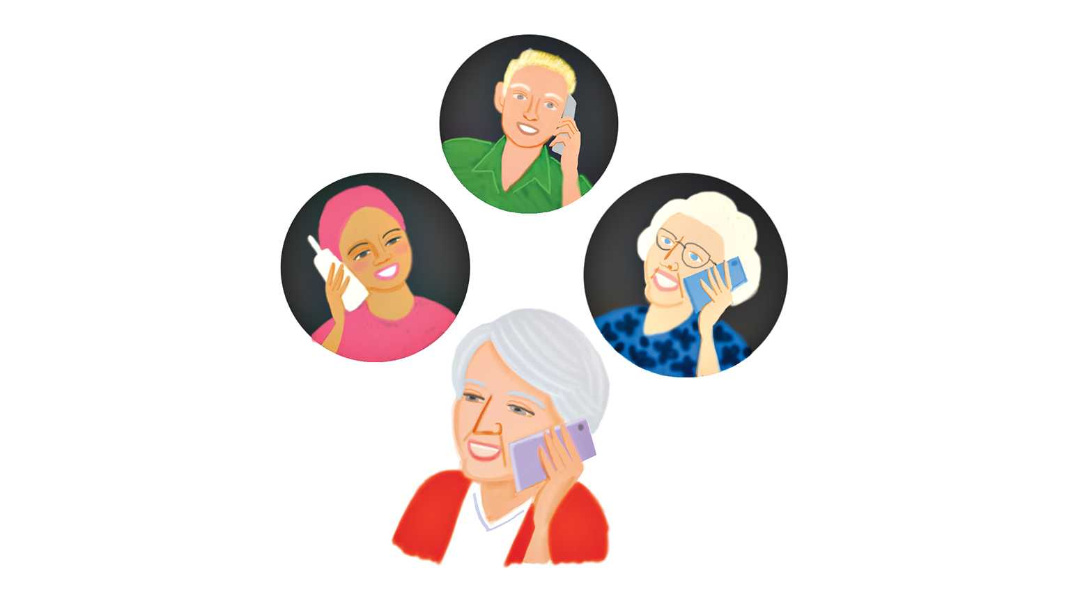 Four women making a telephone call; Illustration by Coco Masuda