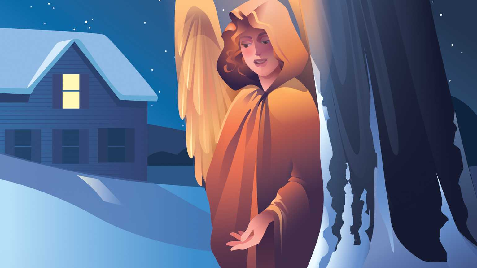 A snow angel appears next to a girl on a sled; Illustration by Kim Johnson