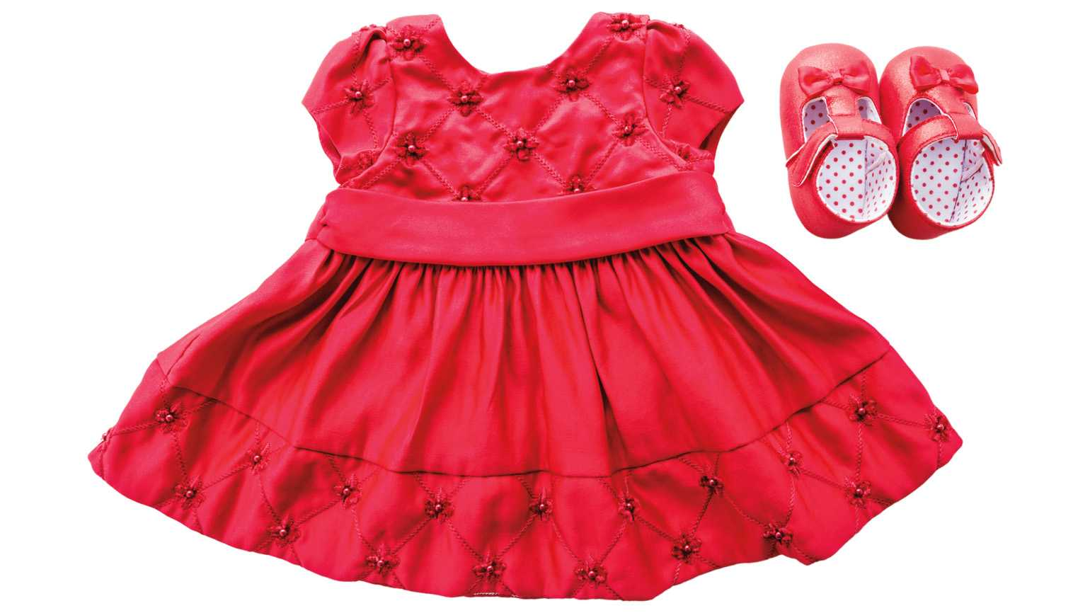 A small red dress with a matching pair of red shoes; Photo credit: Getty Images