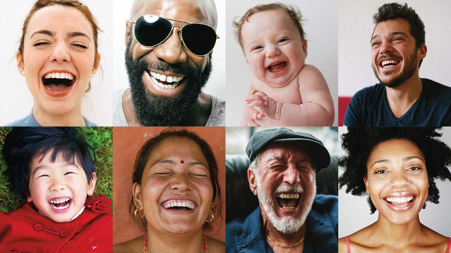 An assortment of laughing faces