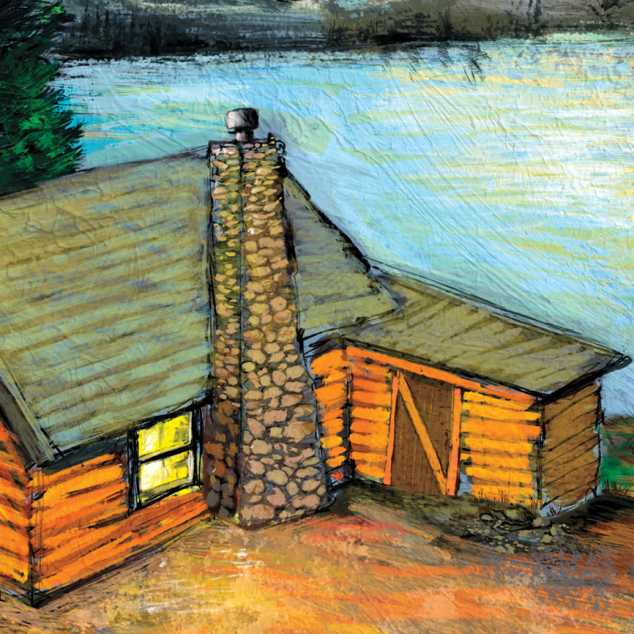 An illustration of a cabin by a lake; Illustration By Michael Paraskevasi
