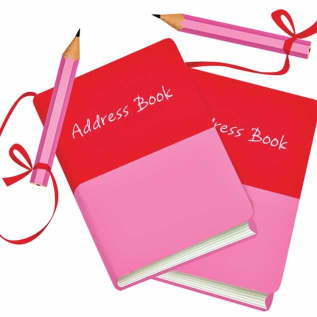 Two pink/red address books with attached pencils; Illustration by Coco Masuda