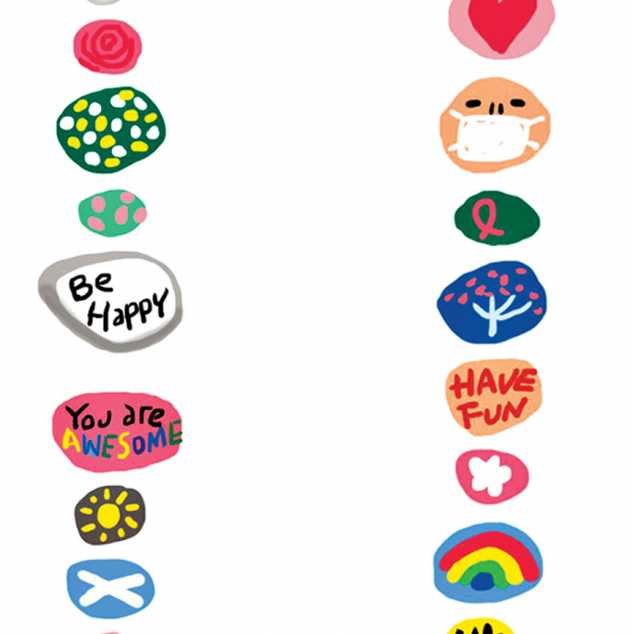 Decorated rocks with mesages of hope; Illustration by Coco Masuda