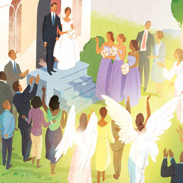 An illustration of a wedding ceremony with two angels in the crowd; Illustration by Jamey Christoph