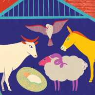 Artist Carole Henáff's rendering of animals in the manger