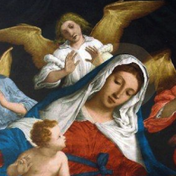 painting of the Virgin Mary and Baby Jesus surrounded by angels.