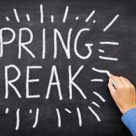 Spring break on chalkboard. Photo from 123RF(r).