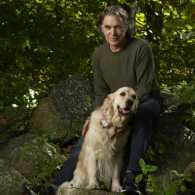 Edward and Gracie in the woods