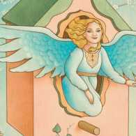 An artist's rendering of an young angel in a birdhouse