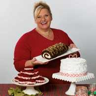 Francine Bryson poses with some of her delectable creations.