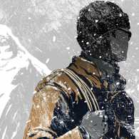 An artist's rendering of a stranger with a rope in the frozen north