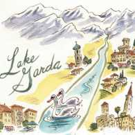 An artist's map-like rendering of the Lake Garda area