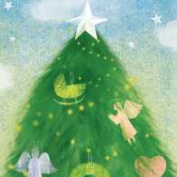 An artist's rendering of a Christmas tree decorated with angel ornaments