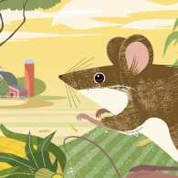 An artist's whimsical rendering of a field mouse on a farm