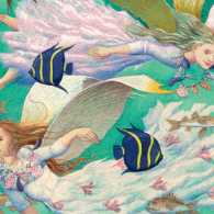 An artist's rendering of a pair of aquatic angels
