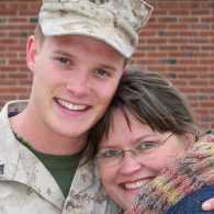 Blogger Edie Melson with her Marines Corp son, Jimmy.
