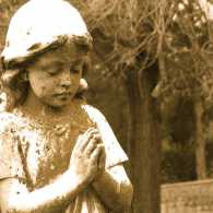 Where are your favorite places to pray? Here a cemetery angel prays.