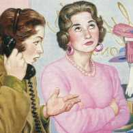 Illustration: A young woman makes a call while an impatient saleswoman stews.