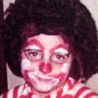 Inspirational Stories blogger Michelle Adams dressed up as Bozo the Clown