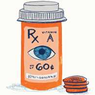 An artist's rendering of a pill bottle used to collect spare change