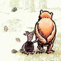 Piglet and Pooh walking and talking together
