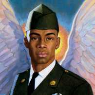 An artist's rendering of a soldier angel