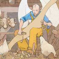 Artist's rendering of a winged farmer carving a yoke