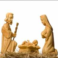 wooden carved nativity