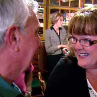 Dave Hickman chats with Mary Ellen Suey, whose life he saved in 1955.