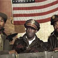 A still from Red Tails depicting three of the Tuskegee Airmen